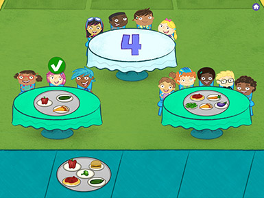 A screenshot from the Early Math with Gracie & Friends Birthday Cafe app shows cartoon children sitting at tables with food. The numeral 4 is on one table signifying that a tray with four food items should be placed there.