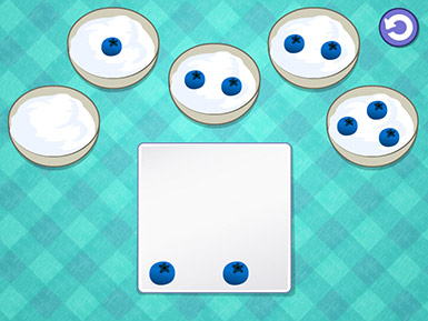 A screenshot from the Early Math with Gracie & Friends Breakfast Time app shows five bowls of yogurt on a turquoise plaid tablecloth and a plate of blueberries, some of which have been distributed to the bowls.