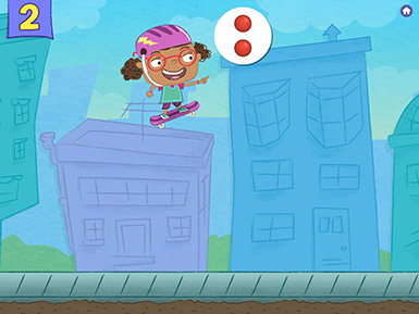 A screenshot from the Early Math with Gracie & Friends City Skate app shows a cartoon child wearing a helmet and jumping into the air on a skateboard to collect a group of two red balls.