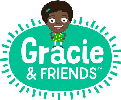 A young girl stands on a the green Gracie & Friends logo