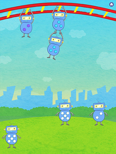 A screenshot from the Early Math with Gracie & Friends Jungle Gym app shows three robots with dots on their bellies dangling from a jungle gym while three robots with dots on their bellies stand on the grass below.