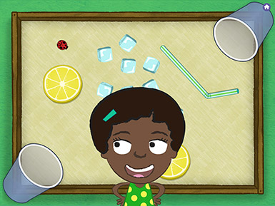 A screenshot from the Early Math with Gracie & Friends Lemonade Stand app shows a cartoon child in a polka-dot dress looking at a ladybug that is on a table with scattered ice cubes, lemon slices, and two cups.
