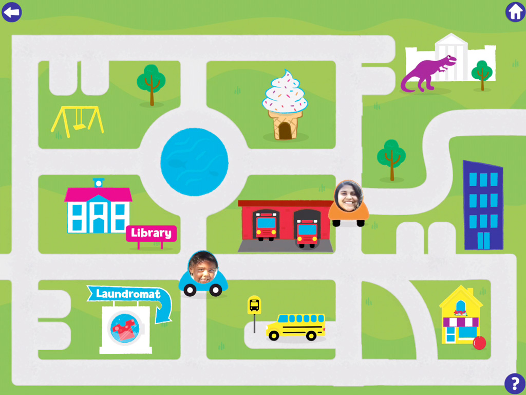 A screenshot from the Map Adventures app shows a cartoon map.