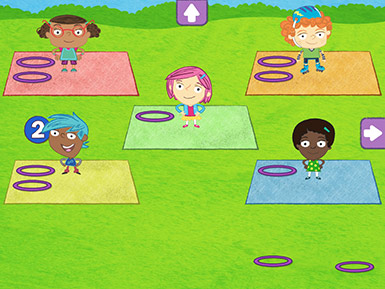A screenshot from the Early Math with Gracie & Friends Park Play app shows cartoon children standing on mats with hula hoops. The numeral 2 is near one mat signifying that two hoops had been placed placed there.