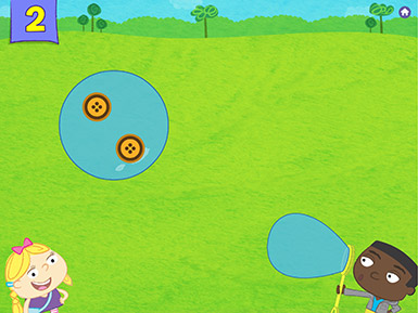 A screenshot from the Early Math with Gracie & Friends Treasure Bubbles app shows two cartoon characters on screen: a girl with a bow stands smiling under a bubble that contains two bubbles while a boy in a gray sweatshirt is blowing a bubble from a bubble wand.
