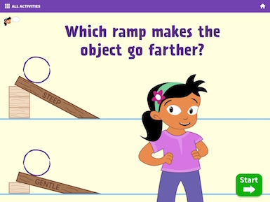 A screenshot from the app of a character introducing a ramp experiment.
