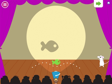 A screenshot from the app showing the Mouse character and a shadow puppet on a theater stage.