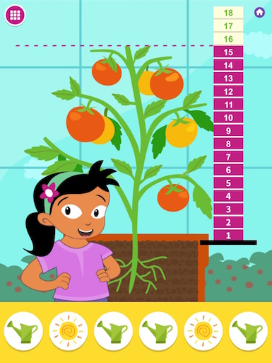 A screenshot from the app of a character standing next to a tomato plant and ruler.